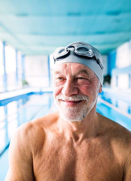 Senior Man Swims